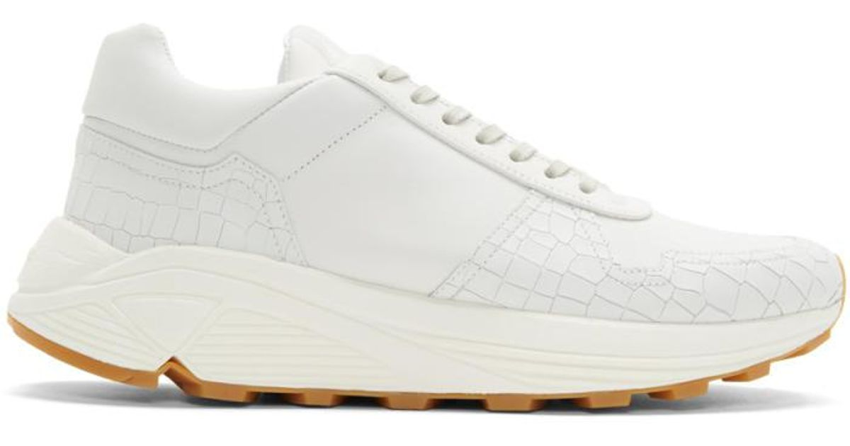 Lyst - ETQ Amsterdam Off-white Croc-embossed Delta Sneakers in White for Men a9319a498480