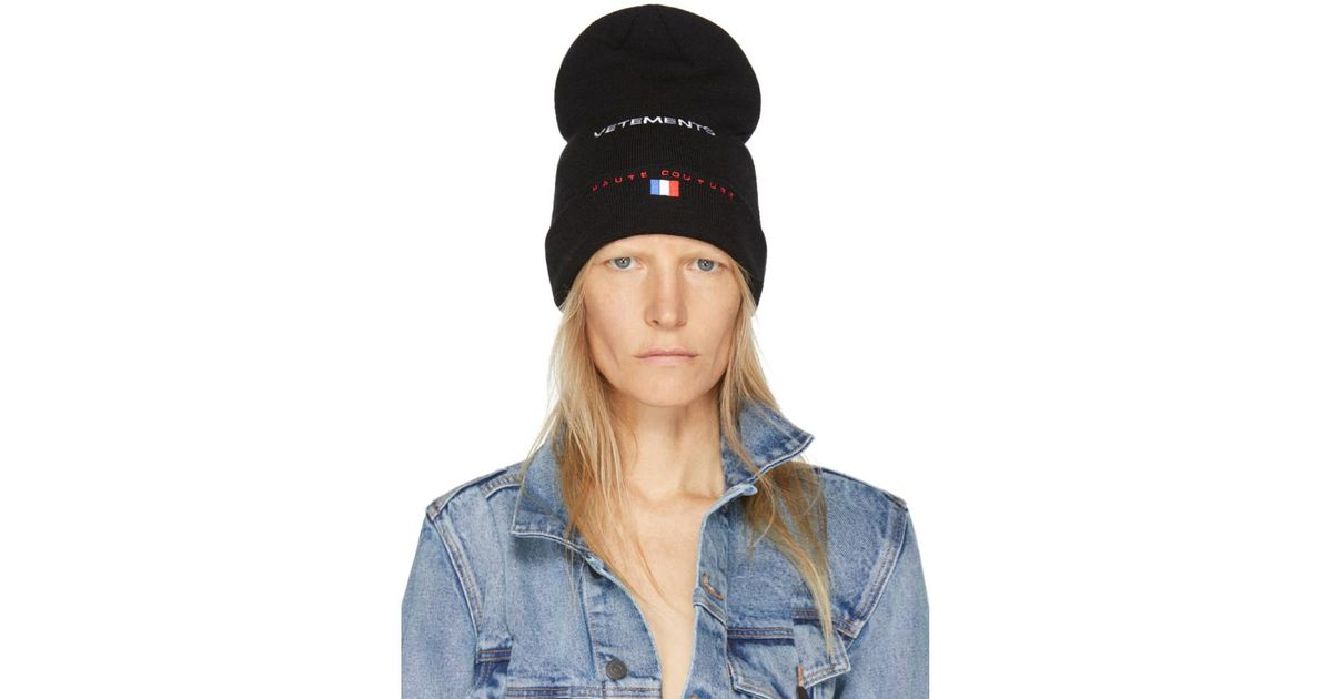 Black Reebok Edition Haute Couture Beanie VETEMENTS EZnrEC
