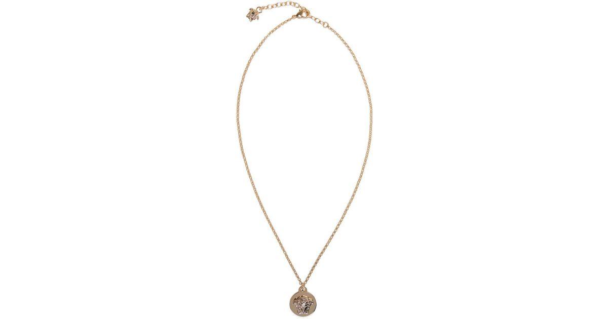 Lyst versace gold medusa pendant necklace mozeypictures Gallery