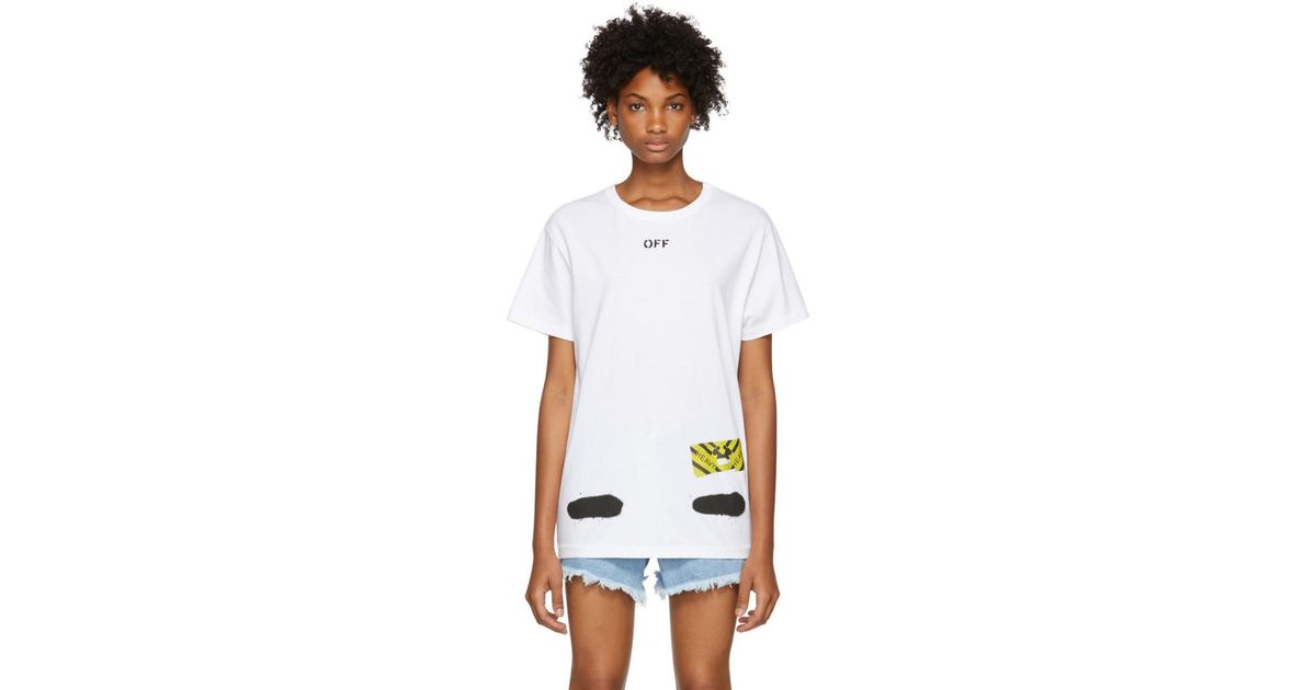 off white c o virgil abloh white spray paint t shirt in white lyst. Black Bedroom Furniture Sets. Home Design Ideas