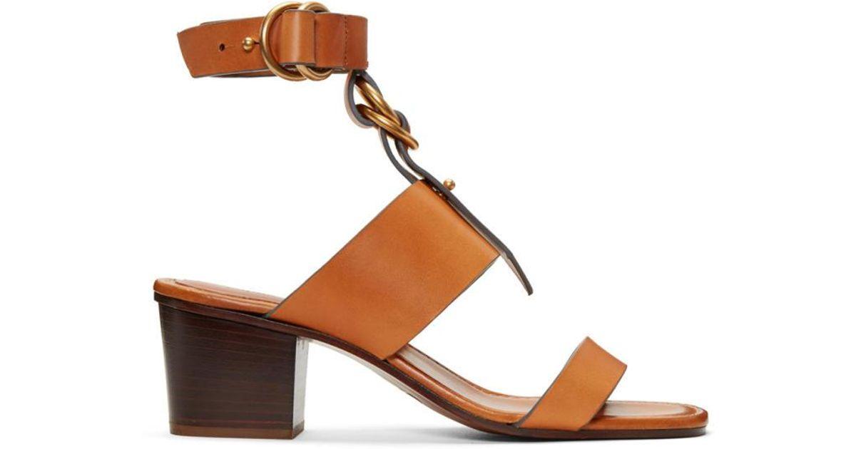 5f79be4dd04 Lyst - Chloé Tan Kingsley Sandals in Brown