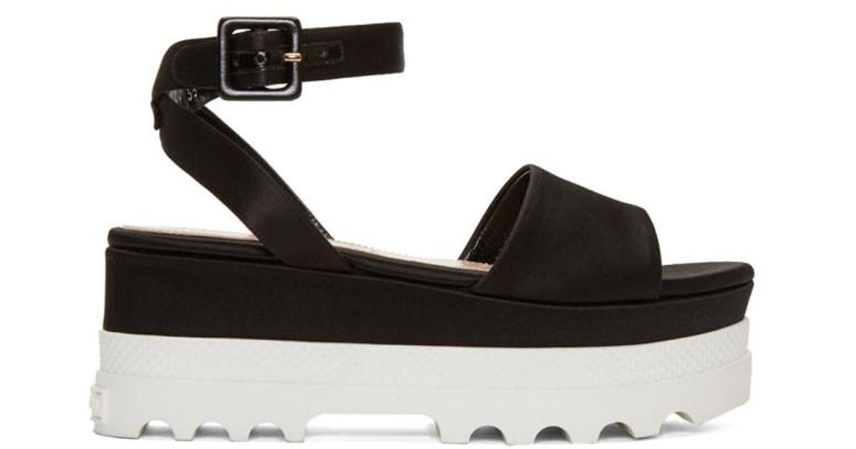 8b3b7a0734a Miu Miu Black Satin Platform Sandals in Black - Lyst