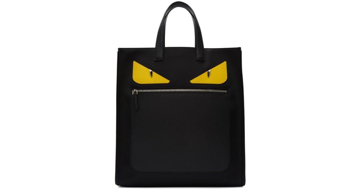 3d87ebd4b9 Fendi Black Nylon 'bag Bugs' Tote in Black - Lyst
