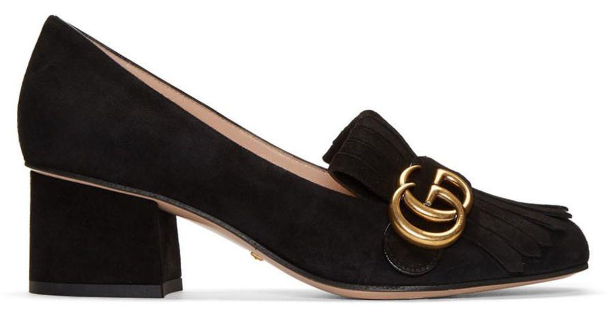 50c383000 Gucci Black Fringe Marmont Loafer Heels in Black - Lyst