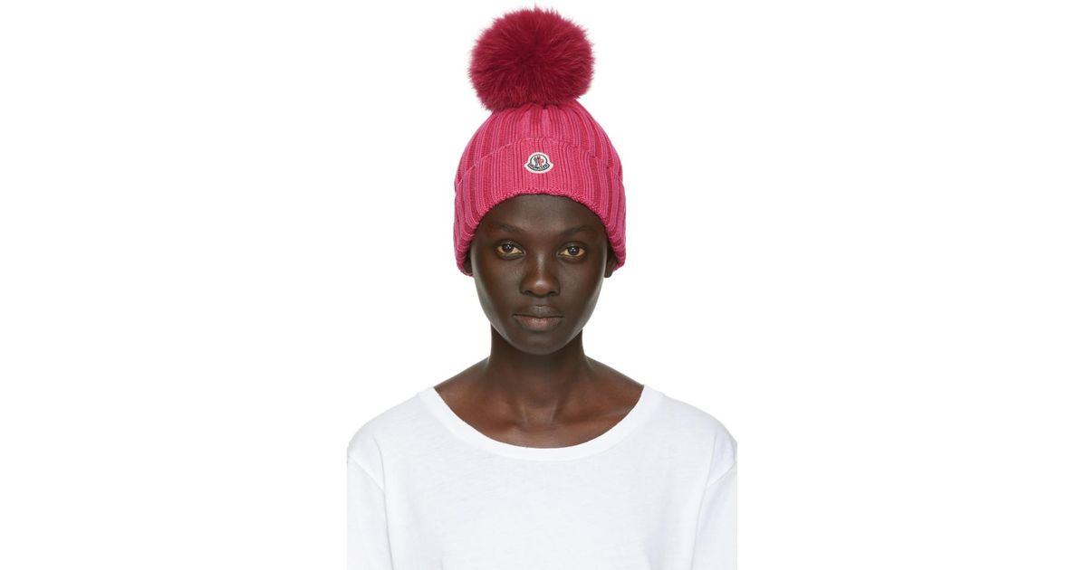 8181b15fb55 Lyst - Moncler Pink Fur Rib Pom Pom Beanie in Pink
