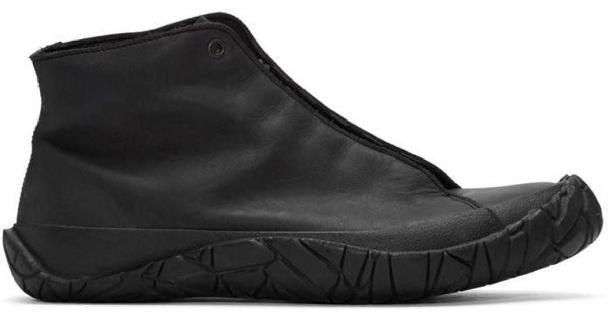 ISSEY MIYAKE MEN Black Leather High Top Sneakers