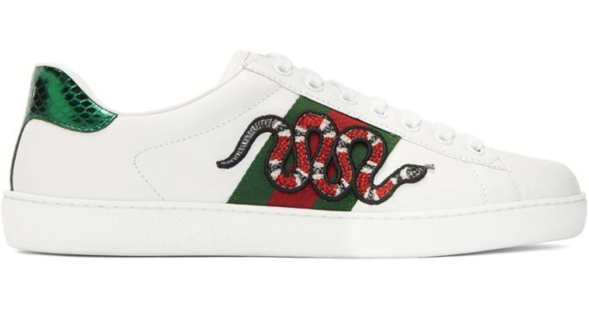 Lyst - Gucci White Snake Ace Sneakers in White for Men 3f50c0885
