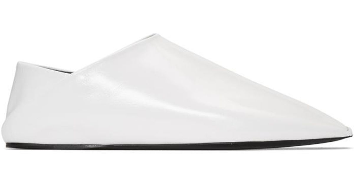 1a31fc8a489 Lyst - Balenciaga White Leather Slippers in White