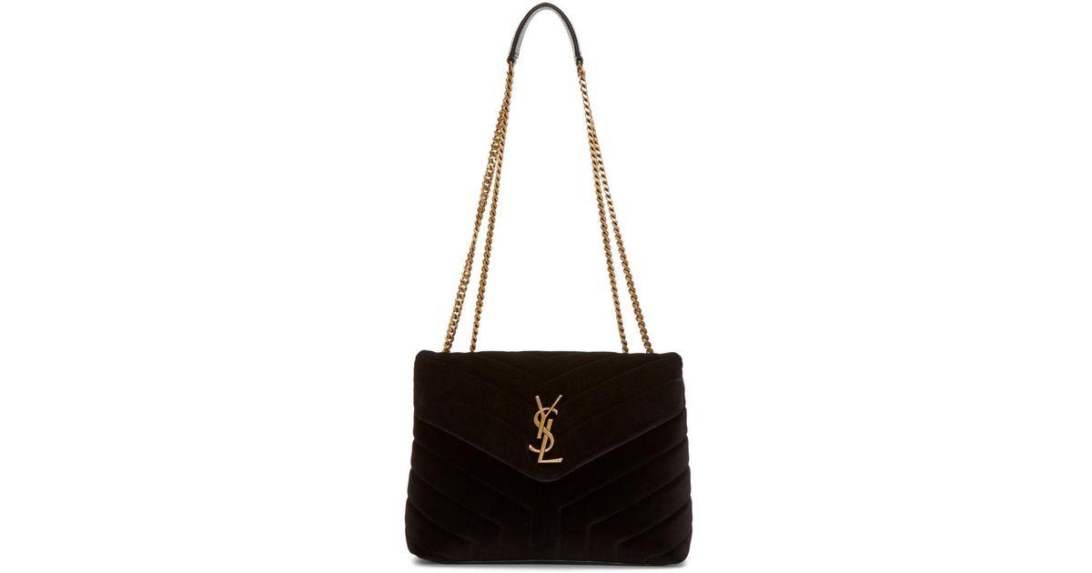 Lyst - Saint Laurent Black Velvet Small Loulou Chain Bag in Black 671c6ca8b8907