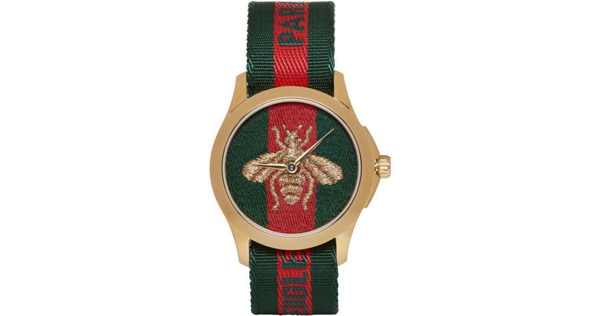 1d5c8606b9d Lyst - Gucci Gold   Green  l aveugle Par Amour  Bee Watch in Metallic for  Men