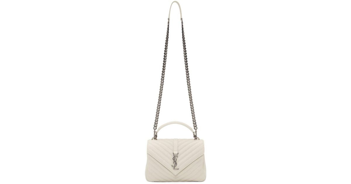 White Laurent College Bag Medium Saint Lyst clFT3Ku1J