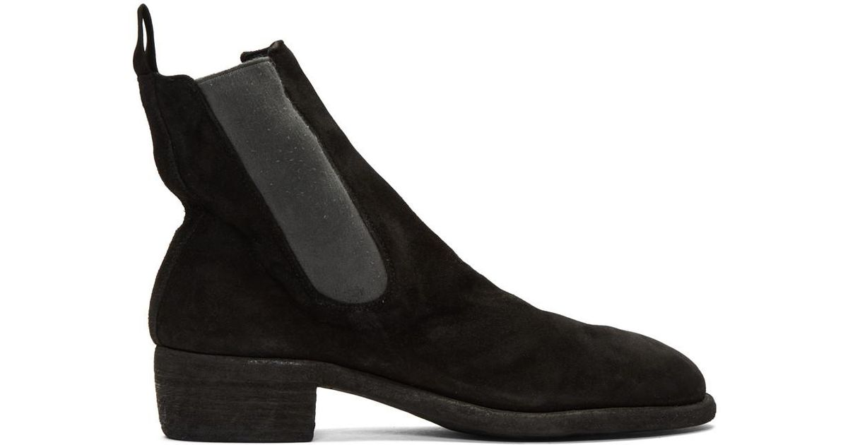 Latest Offers Guidi Black Suede Chelsea Boots Men