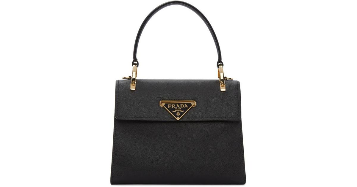 ff0e57f6910b ... low cost lyst prada black mini top handle bag in black a7f95 bc67e