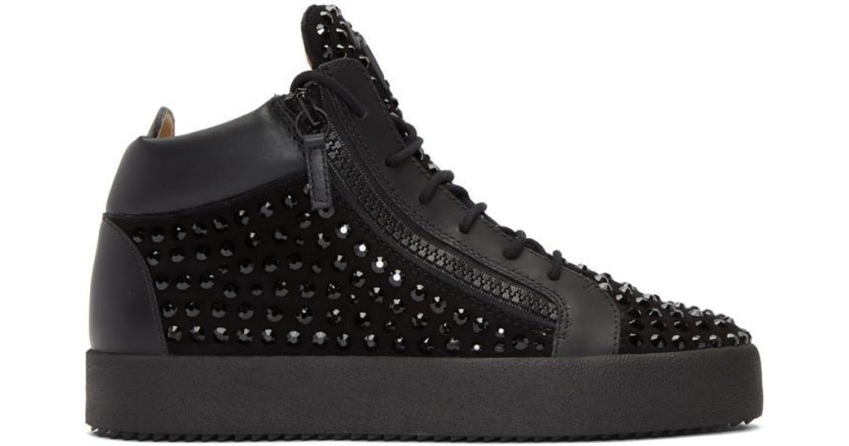 5d5663db3b3575 Lyst - Giuseppe Zanotti Black Rhinestone May London High-top Sneakers in  Black