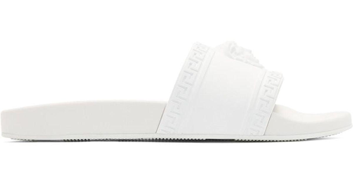 53668ee75 Lyst - Versace White Medusa Pool Slides in White for Men