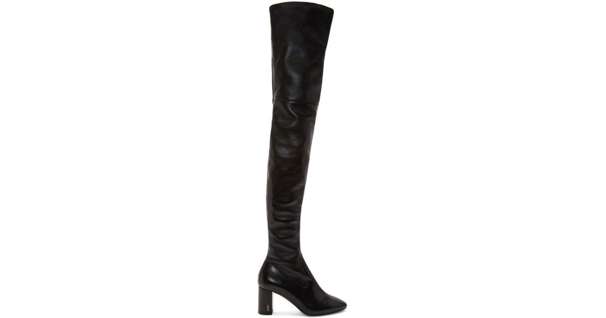 313ec347223 Saint Laurent Black Loulou Over-the-knee Boots in Black - Lyst
