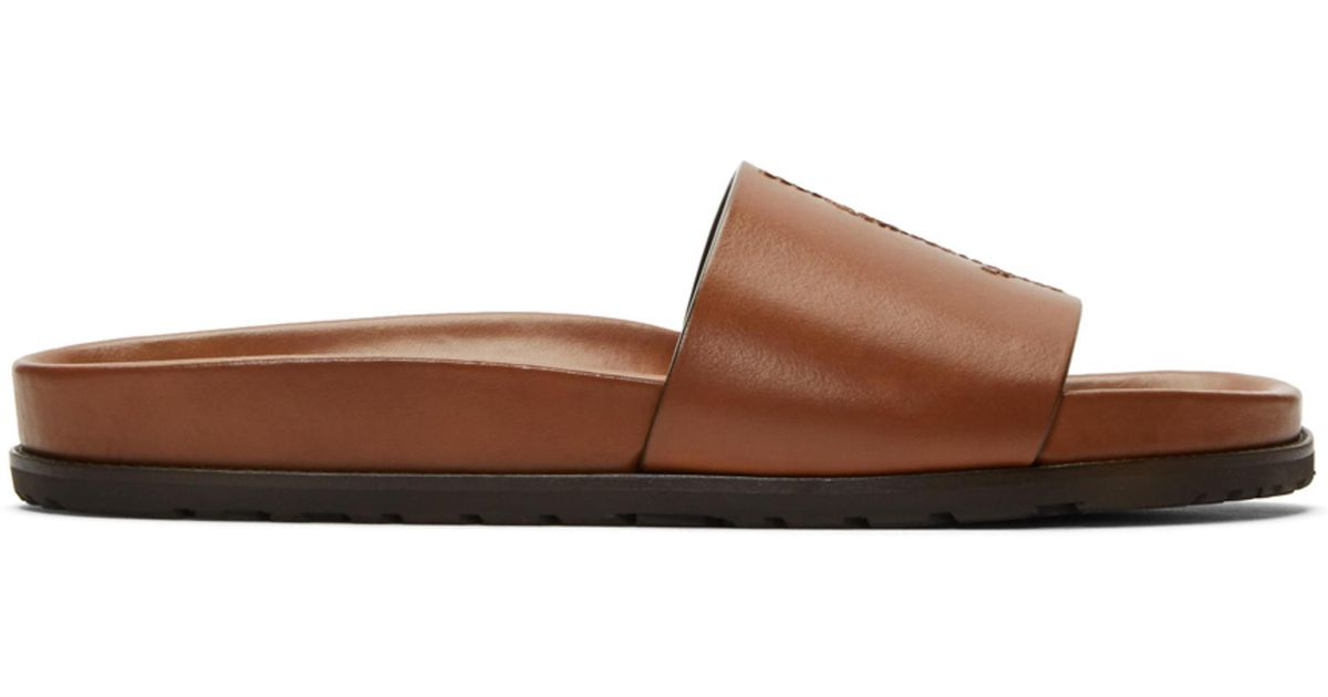 Brown Jimmy Slide Sandals Saint Laurent X6e302
