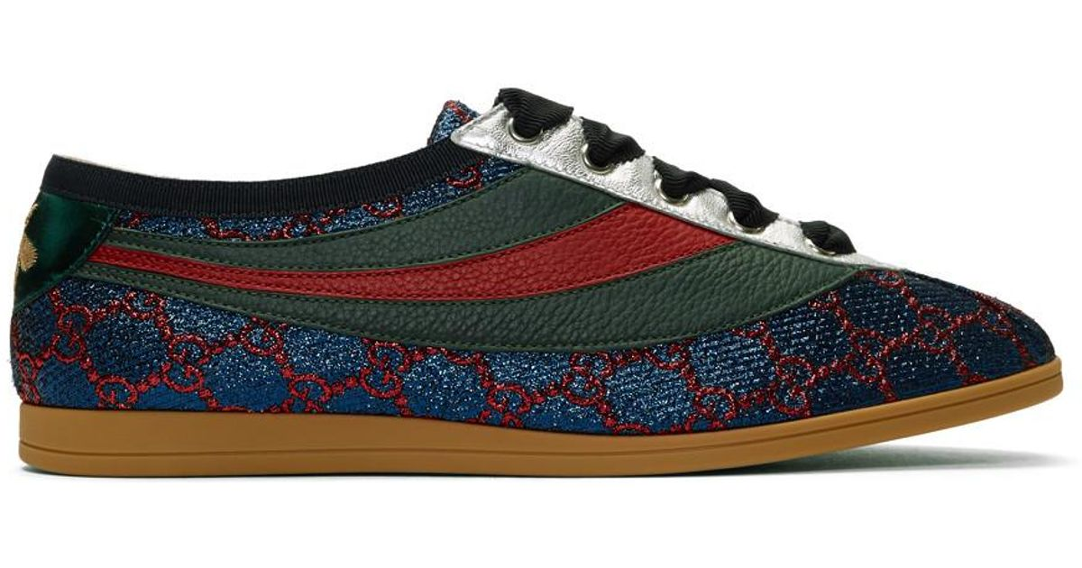 f0467b429e4 Gucci Falacer Lurex GG Sneaker With Web in Blue for Men - Lyst