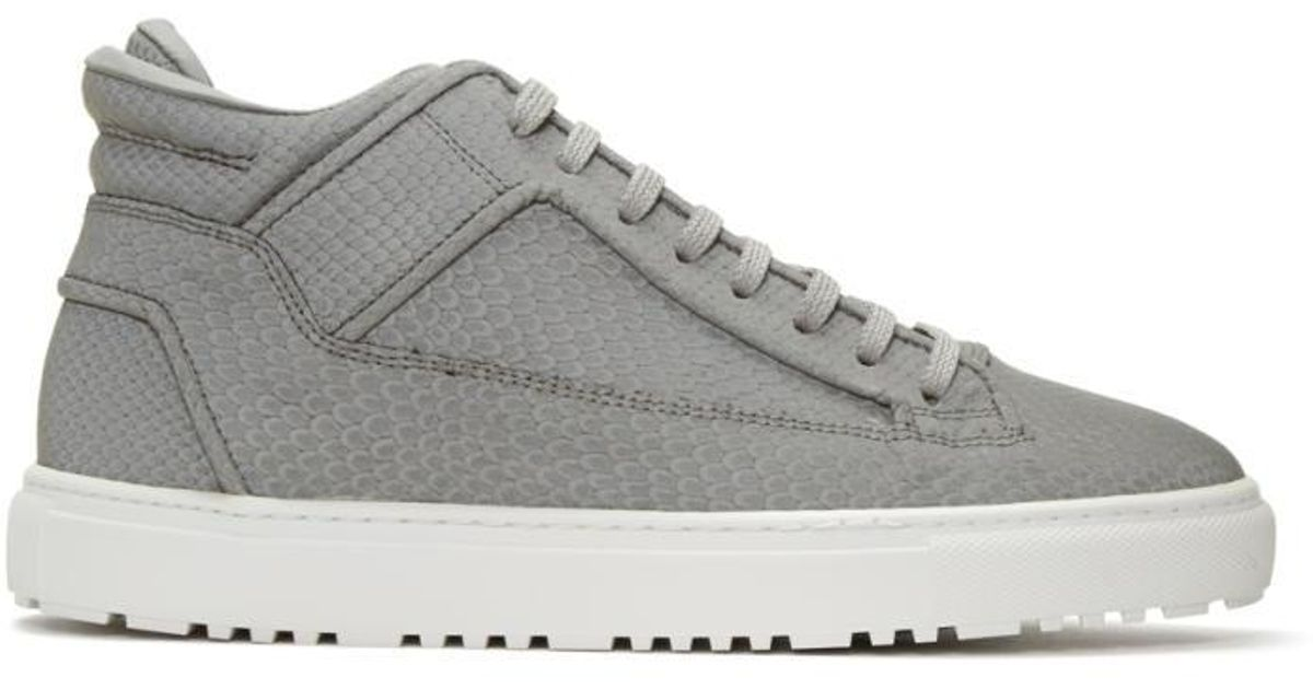 Lyst - ETQ Amsterdam Grey Reflective Python Mid 2 Sneakers in Gray for Men 4d640e816