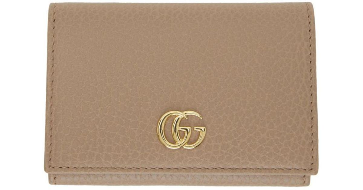 b62301258f92 Gucci Pink Petite Gg Marmont Card Holder in Pink - Lyst