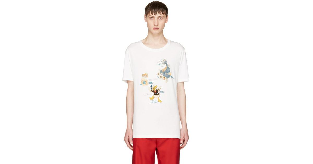 b0254b70b01 Lyst - Gucci White Donald Duck T-shirt in White for Men