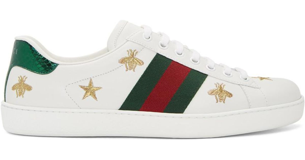 f52069397330f Gucci White Bee And Star New Ace Sneakers in White for Men - Lyst