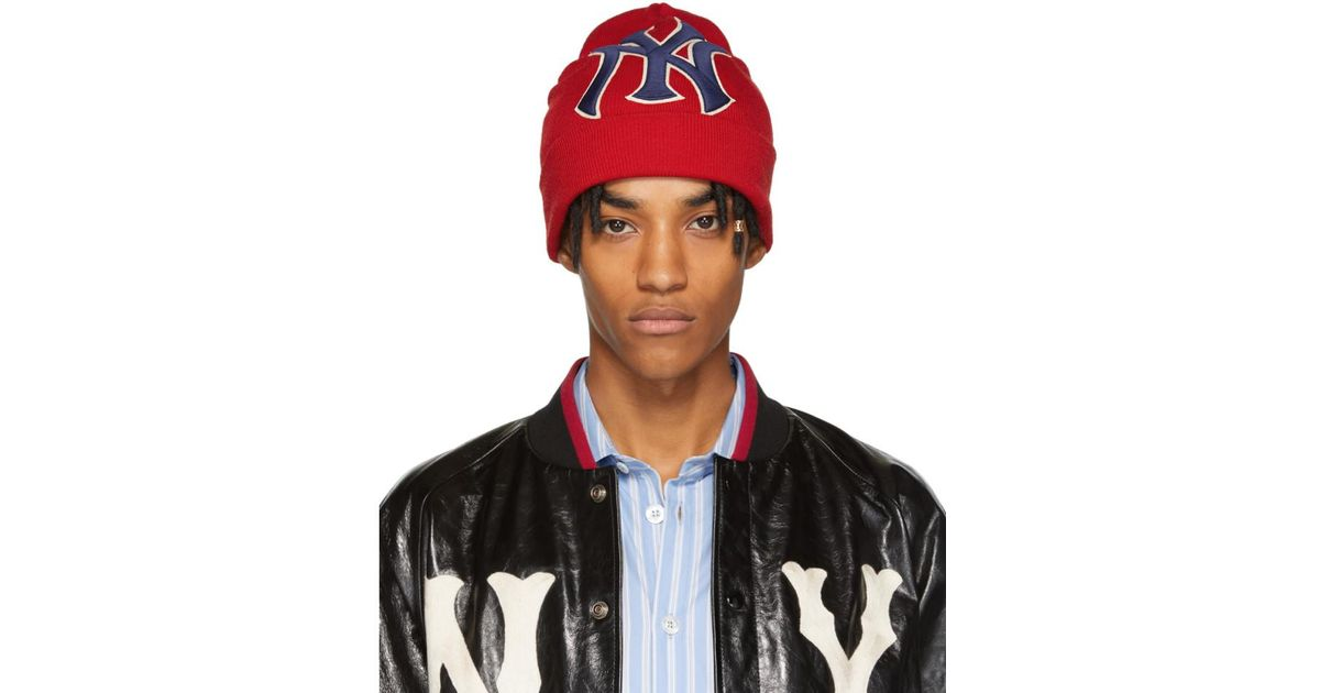 fd59cf64 Gucci Red New York Yankees Edition Patch Beanie in Red for Men - Lyst