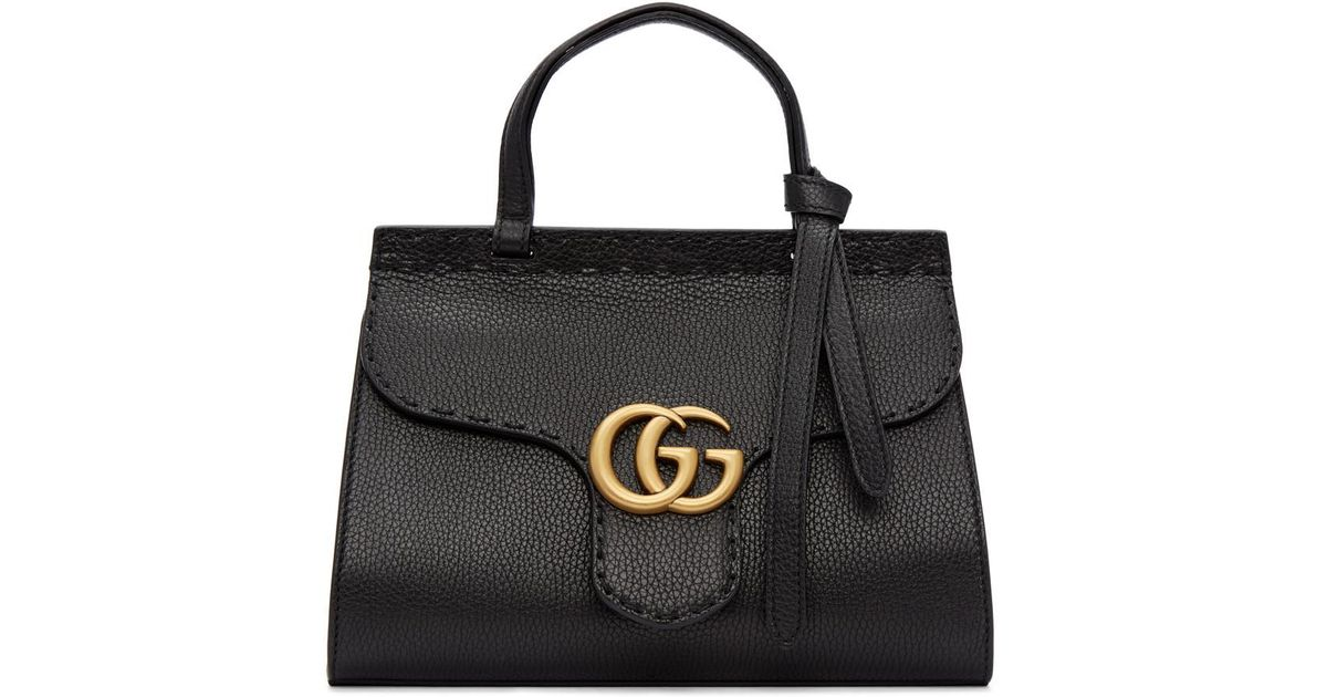 6266e5f766b Lyst - Gucci Black Mini Gg Marmont Top Handle Bag in Black
