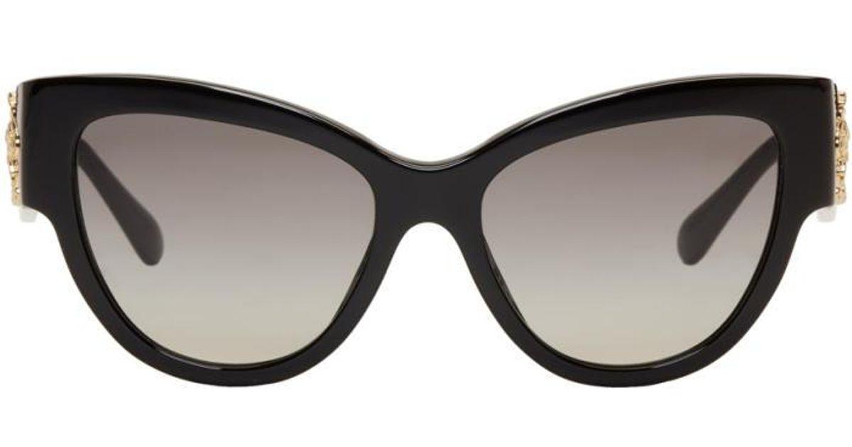 8cd013f77d5f Versace Black Rock Icons Baroque Medusa Cat-eye Sunglasses in Black - Lyst