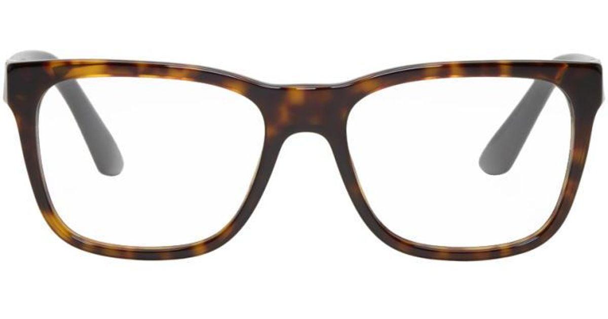 2b6fbc27a9 Versace - Multicolor Tortoiseshell Rectangular Glasses for Men - Lyst