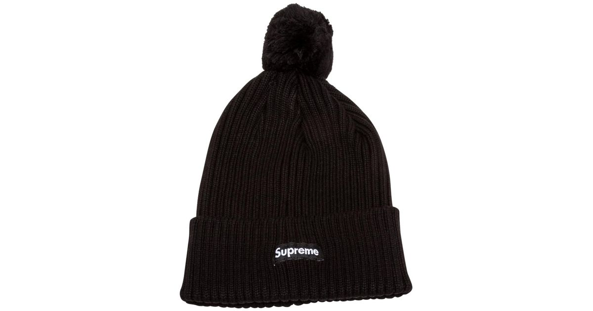 Supreme Ribbed Beanie in Black - Lyst 8260024a200