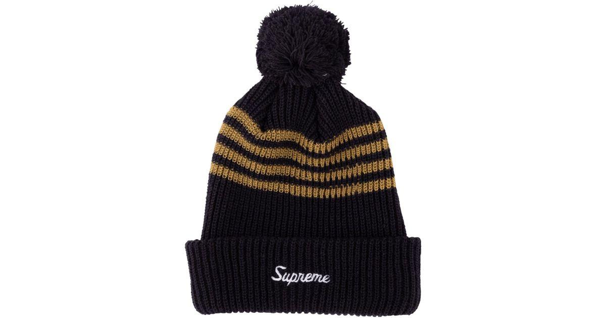 9839def9b61c7 Lyst - Supreme 4-stripe Loose Gauge Beanie in Black for Men