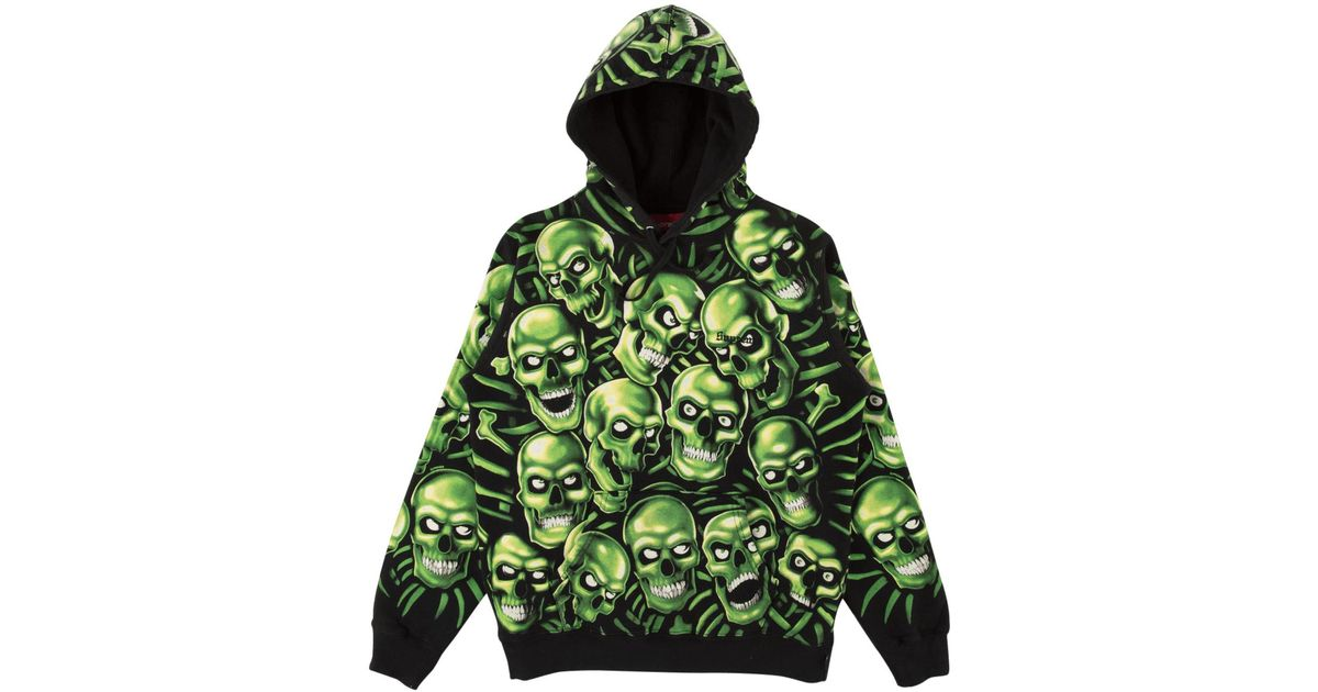 1cddf71e Supreme Skull Pile Hooded Sweatshirt 'ss 18' in Green for Men - Save 28% -  Lyst