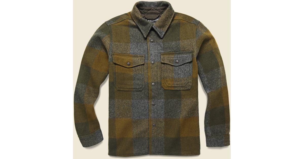 75703c40 Filson Mackinaw Jac Shirt - Dark Military in Green for Men - Lyst