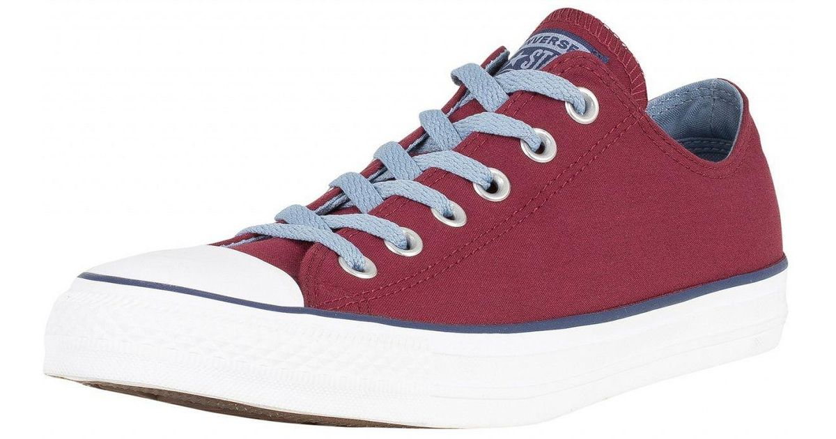 f48ab6278f604 Converse Dark Burgundy washed Denim Ct All Star Ox Canvas Trainers for Men  - Lyst