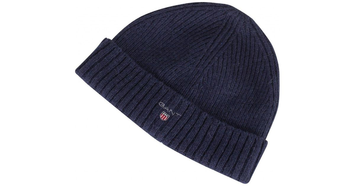 Lyst - GANT Marine Wool Lined Beanie in Blue for Men b38434e791f
