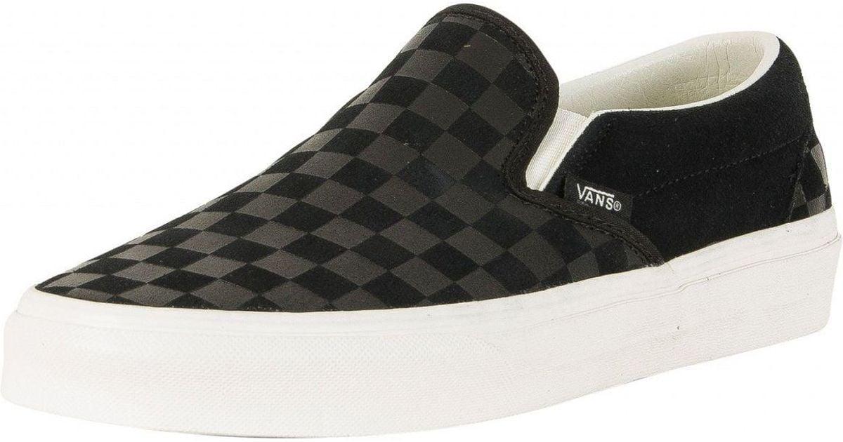 9e808c5e46 Lyst - Vans Black Classic Slip-on Checker Emboss Trainers in Black for Men
