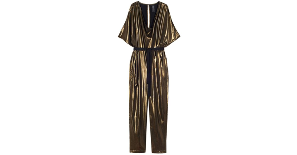 a3581629772 Lyst - Zero + Maria Cornejo Vintage Gold Venus Jumpsuit in Metallic