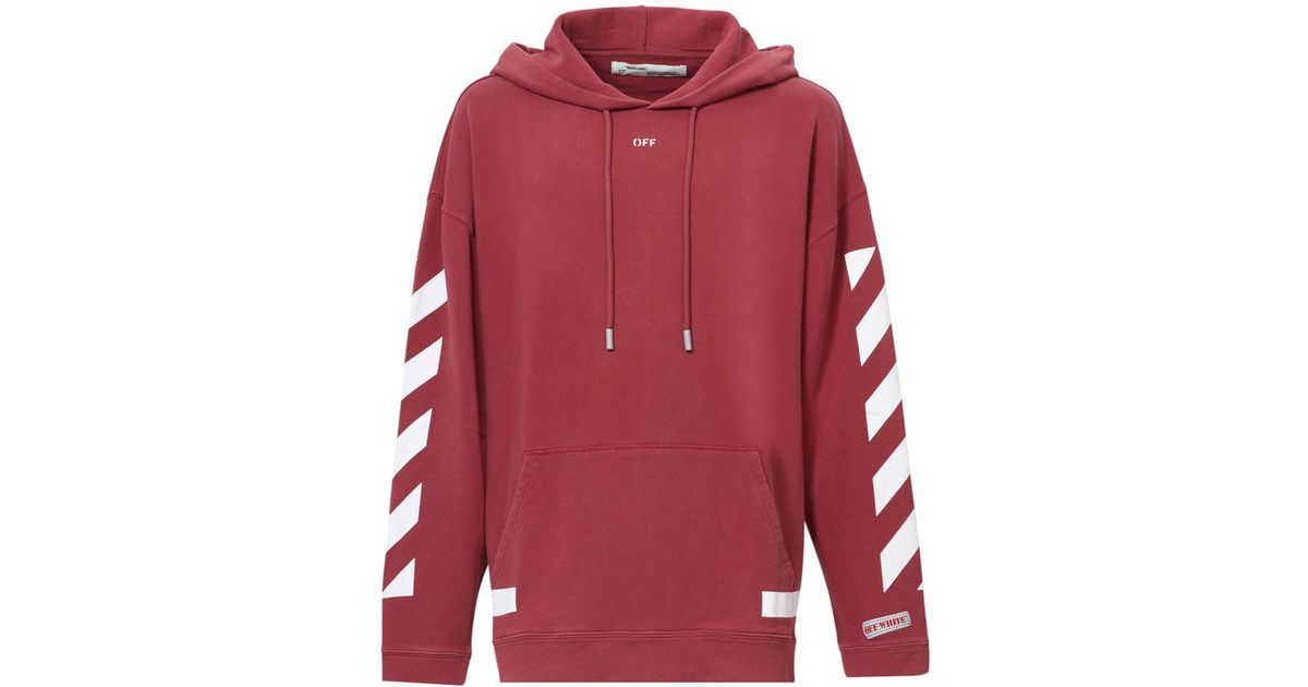 84af2967 Off-White c/o Virgil Abloh Diagonal Stripes Oversized Cotton Hoodie in Red  for Men - Lyst