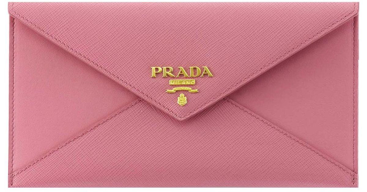 3aca6bbb1e25ec Prada Envelope Leather Wallet in Pink - Lyst