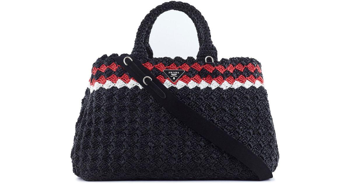 Lyst - Prada Crochet Raffia Tote in Black 97dfff5dce