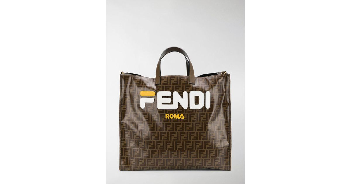 Lyst - Fendi Mania Brown And White Large Logo Print Tote Bag in Brown 3aa248dd93956