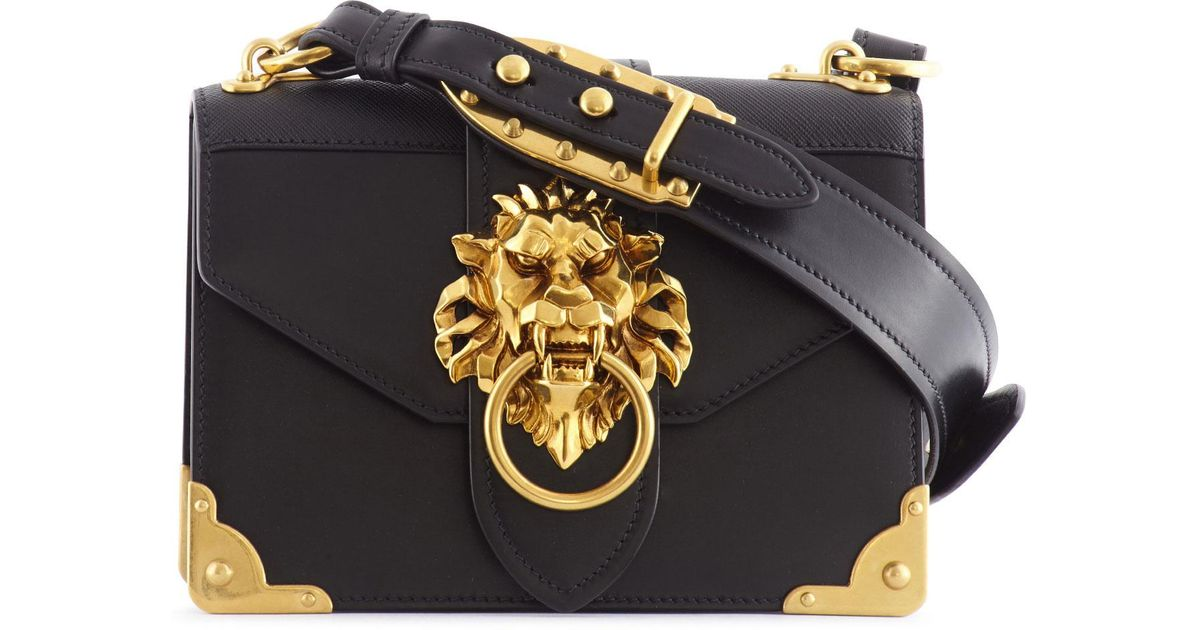 606342be3138 Prada Cahier Lion Head Leather Bag in Black - Lyst