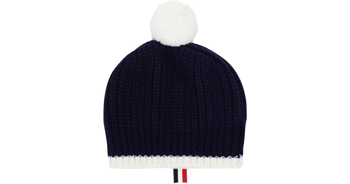56c85b56a1e Lyst - Thom Browne Pompom Two Tone Wool Beanie in Blue