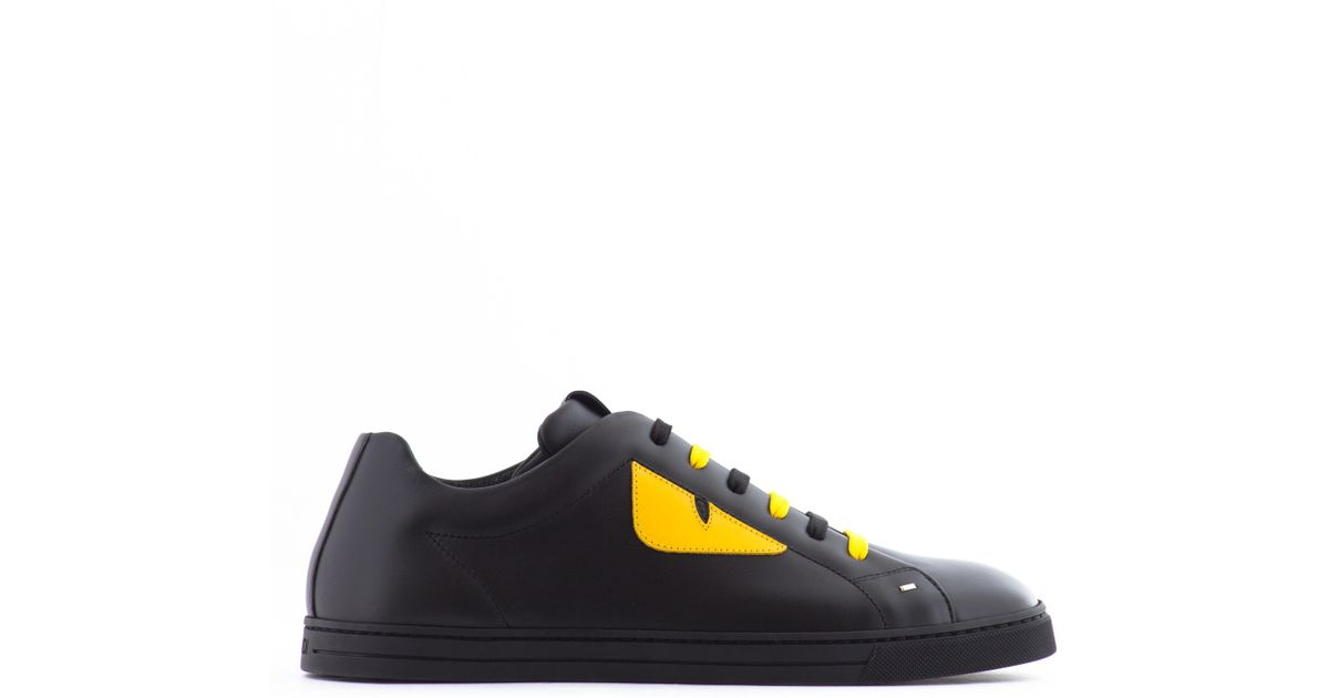 eb0b203fba8c37 Lyst - Fendi Monster Eyes Leather Sneakers in Black for Men