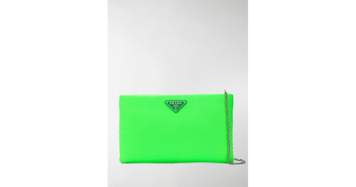 981cb7ea0689 Prada Padded Nylon Clutch Bag in Green - Lyst