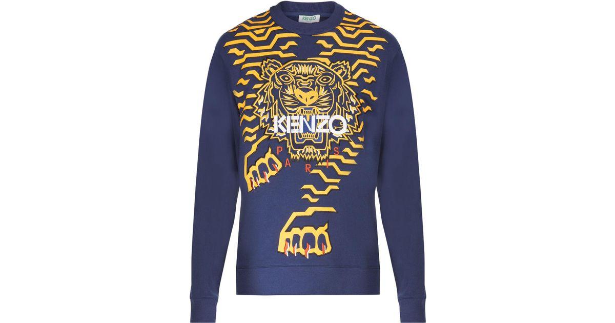 Lyst - KENZO Geo Tiger Classic Cotton Sweatshirt in Blue for Men bb3c9055f07