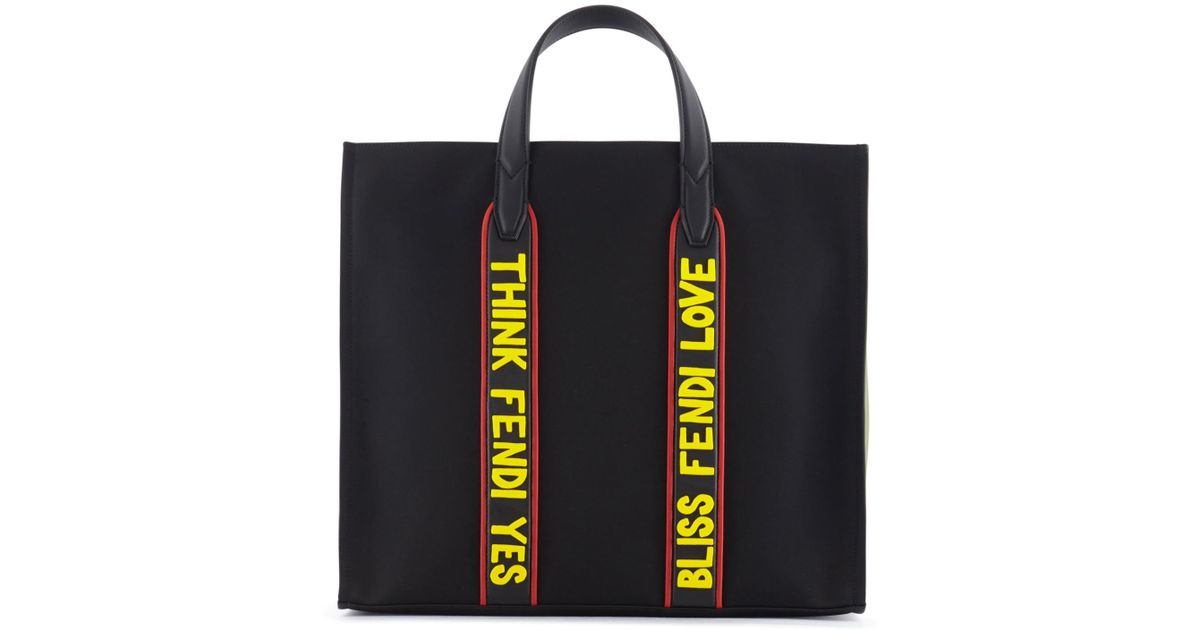 ... coupon for lyst fendi think yes bliss love canvas tote in black 57a08  2abf6 3be909413c943
