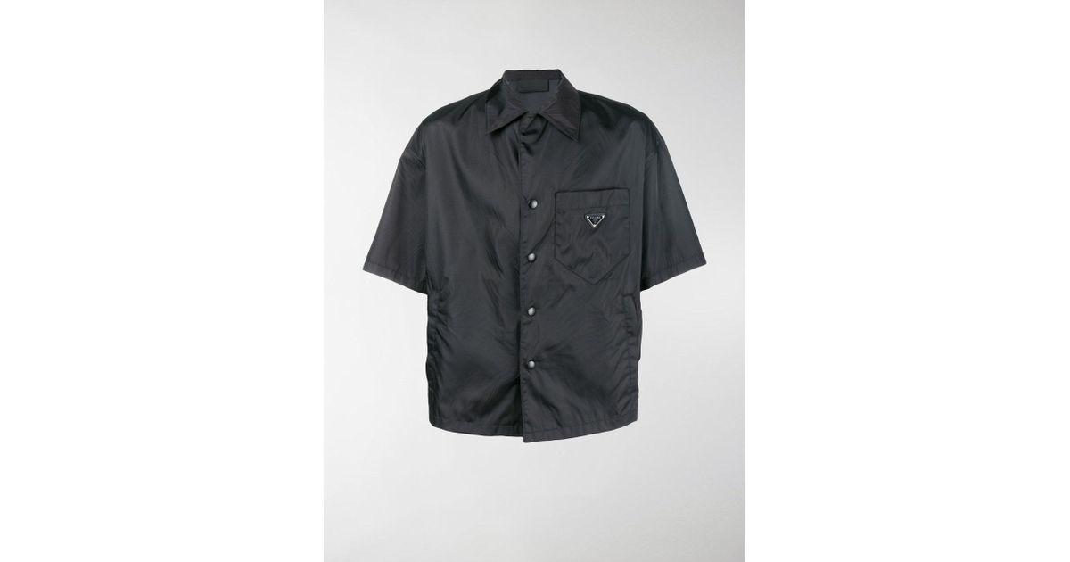 36b98bbb Prada - Black Open Collar Shirt for Men - Lyst