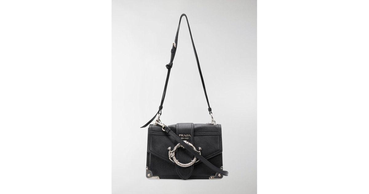c14c11483608 Prada Cahier Monkey Buckle Shoulder Bag in Black - Lyst